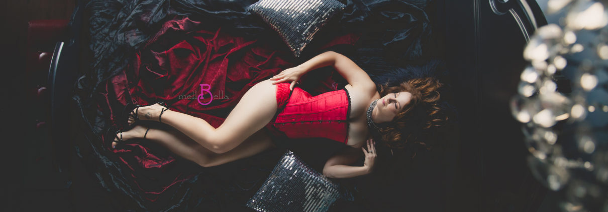 mellbella boudoir over the bed camera with a red corset