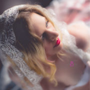 mellbella bridal boudoir red lips and veil