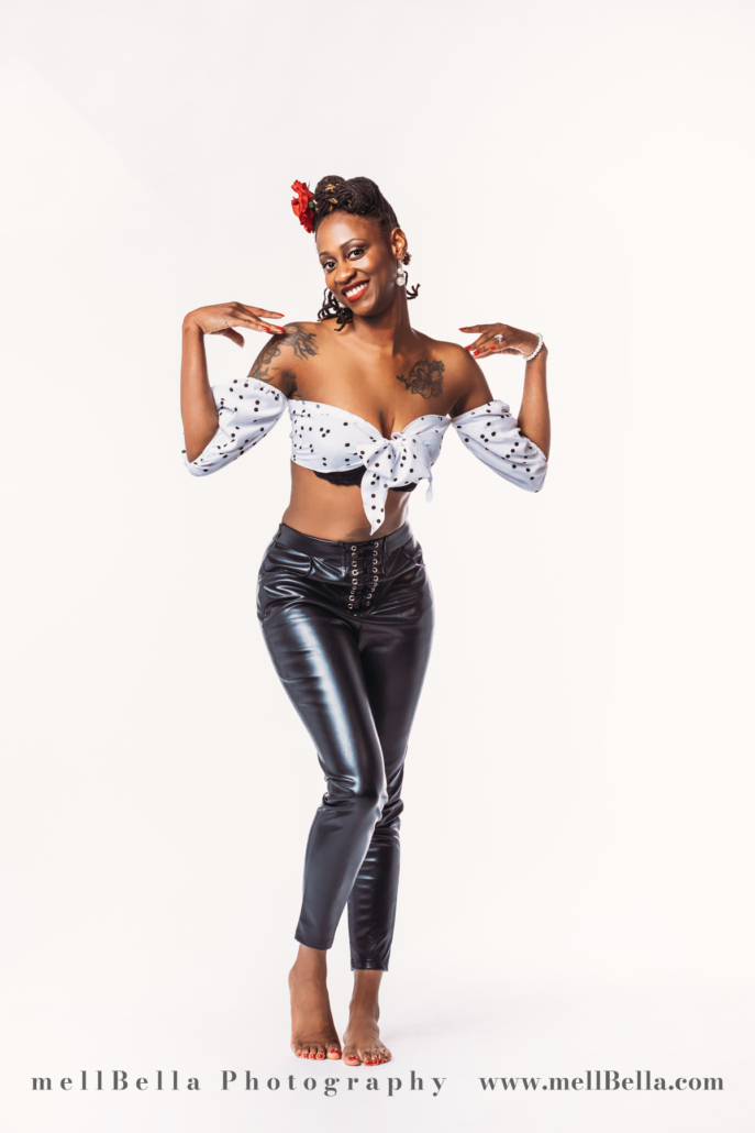 black and white crop top with pleather pants