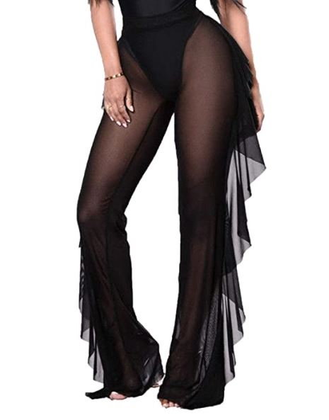 black sheer pants with ruffles on the sides